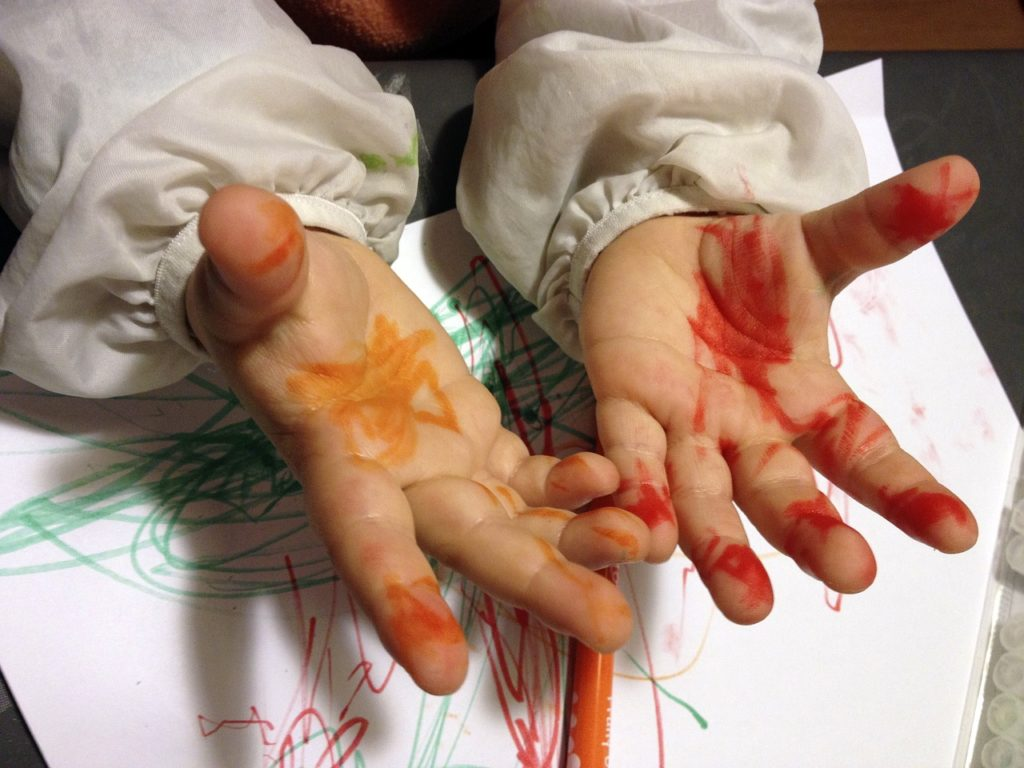 Baby activities finger painting